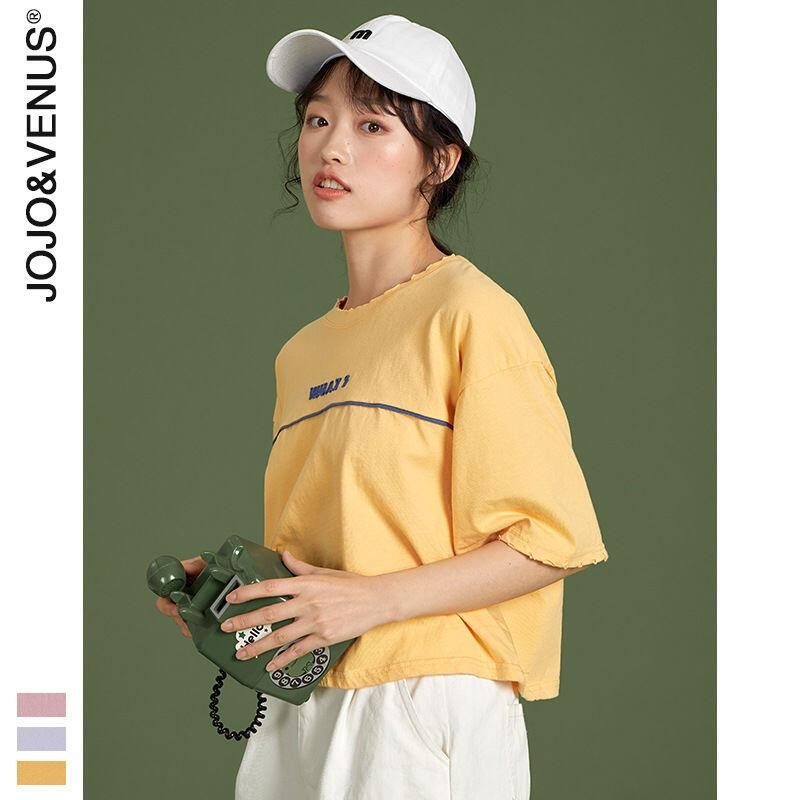 100%純棉2020春夏女裝新款韓版寬鬆短款簡約短袖小個子T恤女學生
