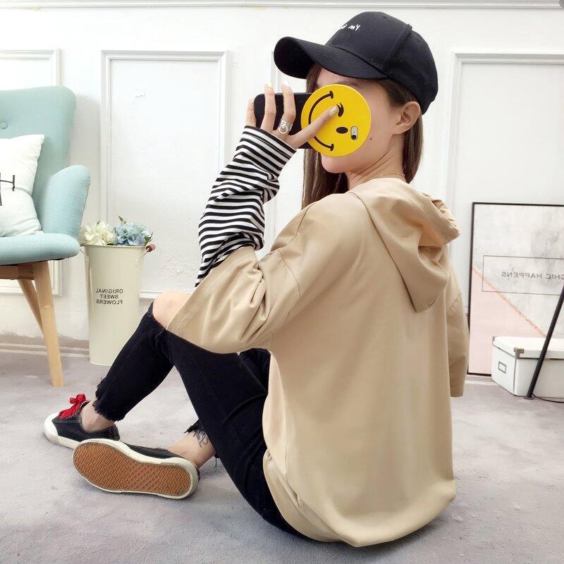 韓國原宿時尚高中生流行假兩件創意學生假兩件薄款套頭連帽大學T女印花圖案寬鬆拼接連帽長袖大學T女