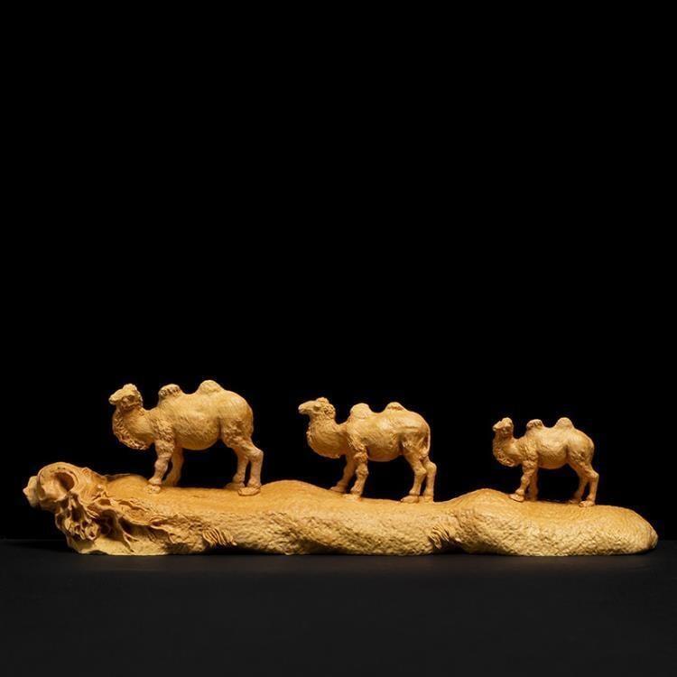 小葉黃楊木客廳招財擺設裝飾工藝品實木木雕擺件絲綢之路-【曼曼部落】  銘創優品