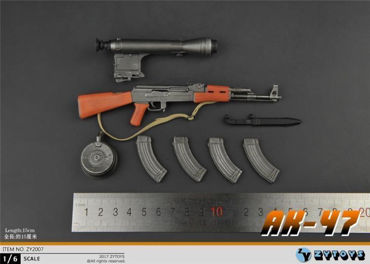【金牛模玩】ZYtoys1:6兵人軍事模型特種部隊AK47沖鋒突擊步槍固定托配狙鏡