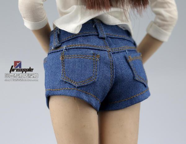 【金牛模玩】1:6 女 兵人  BJD 3A FR OB 褲子 牛仔 短褲 熱褲 模型 淺藍色