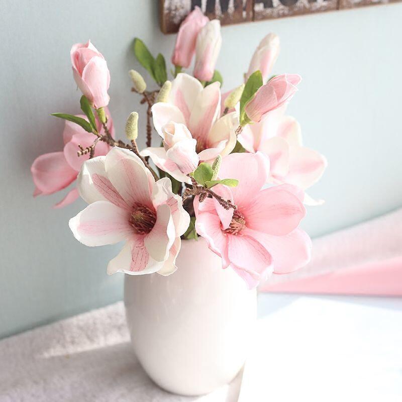 客廳假花仿真花套裝家居裝飾絹花歐式餐桌擺件絹花玉蘭花盆栽干花裝飾 擺件 掛飾