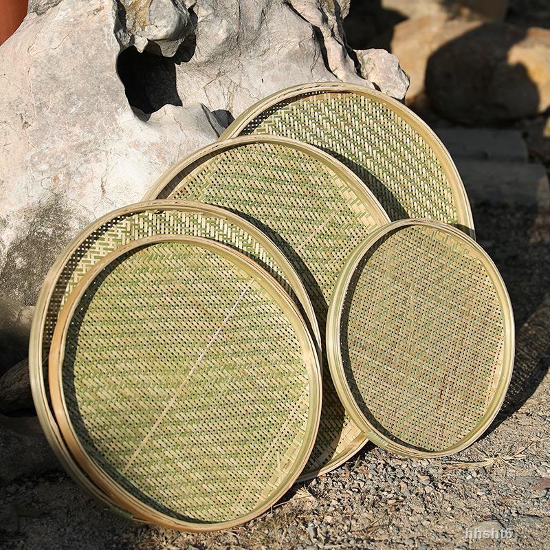 竹製品竹編簸箕無孔有孔竹篩子家用晾曬圓簸箕米篩竹匾繪畫裝飾