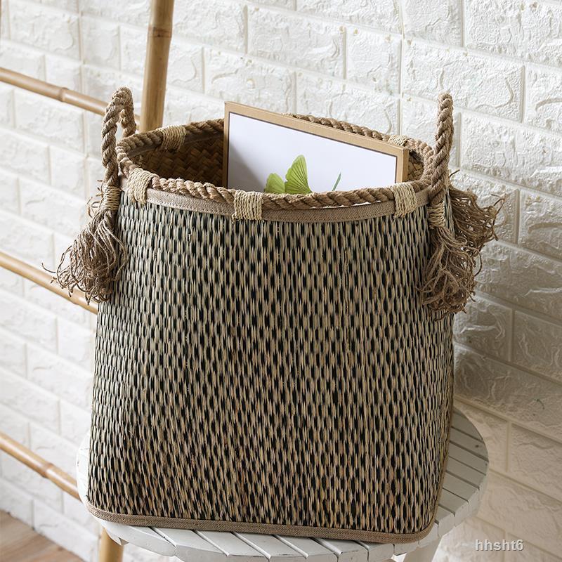 復古草編髒衣簍玩具收納筐日式手工麻繩把手大號洗衣籮
