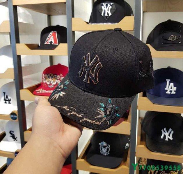 韓國MLB棒球帽NY帽子新款玫瑰花仙鶴刺繡黑色卡其色洋基隊鴨舌帽遮陽帽可調節防曬帽遮陽帽帽侶情鴨舌帽