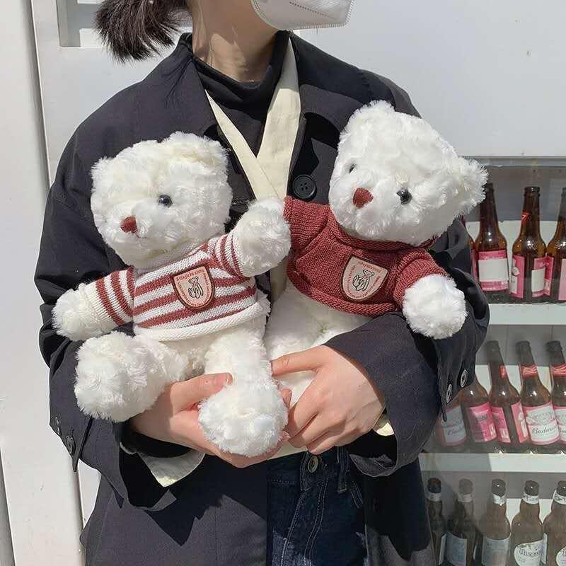 韓ins可愛毛衣泰迪熊毛絨公仔玩具 女生情侶禮物布偶娃娃衣服玩偶
