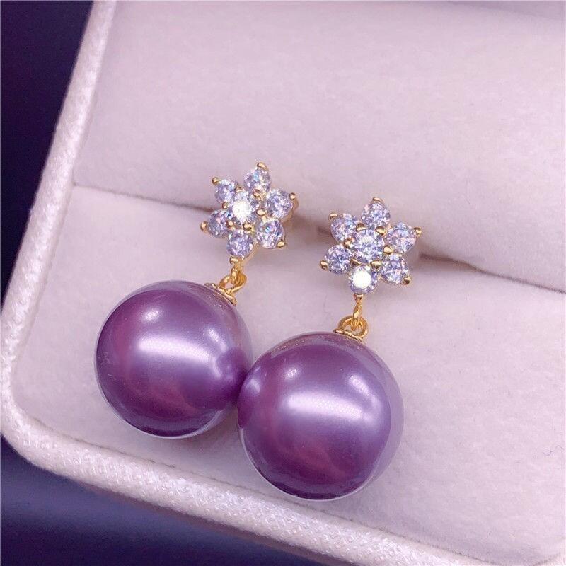 熱賣商品925純銀天然南洋金珍珠粉耳環耳飾 時尚耳釘耳墜防過敏經典雪花款
