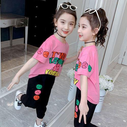 網紅女童運動套裝夏裝2021新款洋氣中大童兒童夏季女孩短袖兩件套