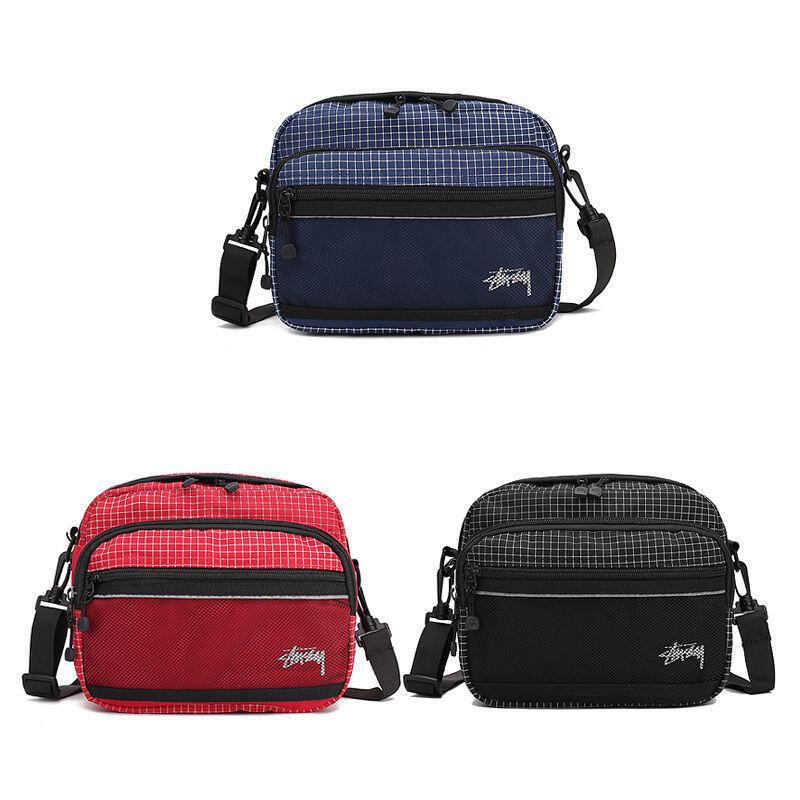STUSSY斜挎包斜背包側背包21新款 經典網格腰包 男女情侶休閑 單肩包 百搭小包