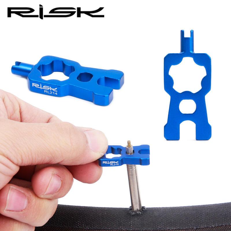 新款熱賣★RISK 自行車美式氣門芯工具 輪胎管胎法式氣嘴延長桿拆卸扳手工具現貨