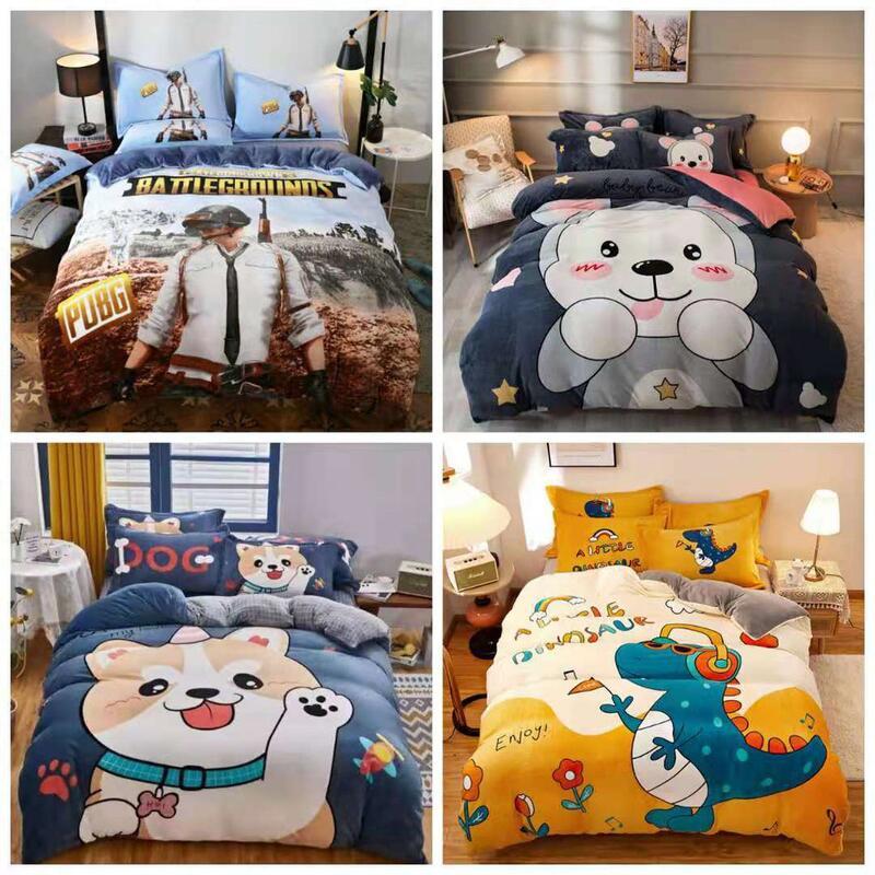 【可愛小熊 熊】水晶絨 兒童法蘭絨KT貓 床包 單人 雙人 加大 特大 床包組 床單 被套/四件組色三件組//舒柔棉/純