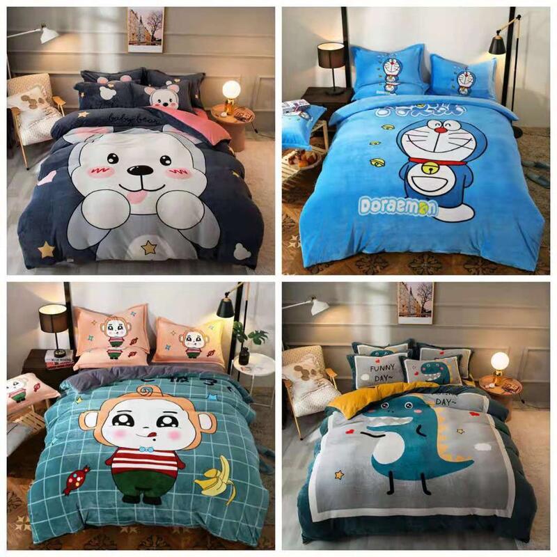 【可愛小熊咦】水晶絨 兒童法蘭絨KT貓 床包 單人 雙人 加大 特大 床包組 床單 被套/四件組色三件組//舒柔棉/純棉