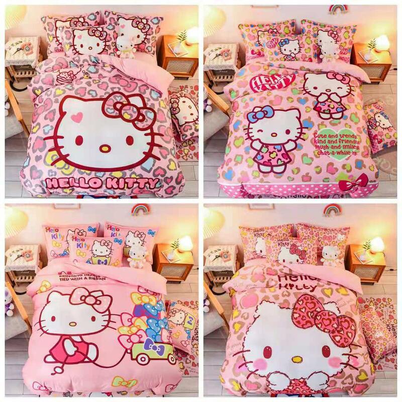 【凱蒂貓】水晶絨 兒童法蘭絨KT貓 床包 單人 雙人 加大 特大 床包組 床單 被套/四件組色三件組//舒柔棉/純棉