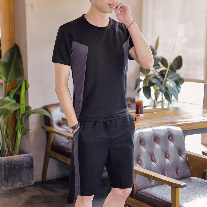 【新款熱賣】男士2021夏季短袖套裝T恤男新款短褲休閑帥氣潮流韓版運動兩件套