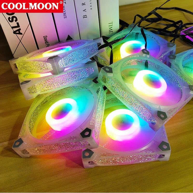 COOLMOON方鉆RGB風扇12cm機箱風扇碎鉆透明靜音 臺式電腦散熱風扇