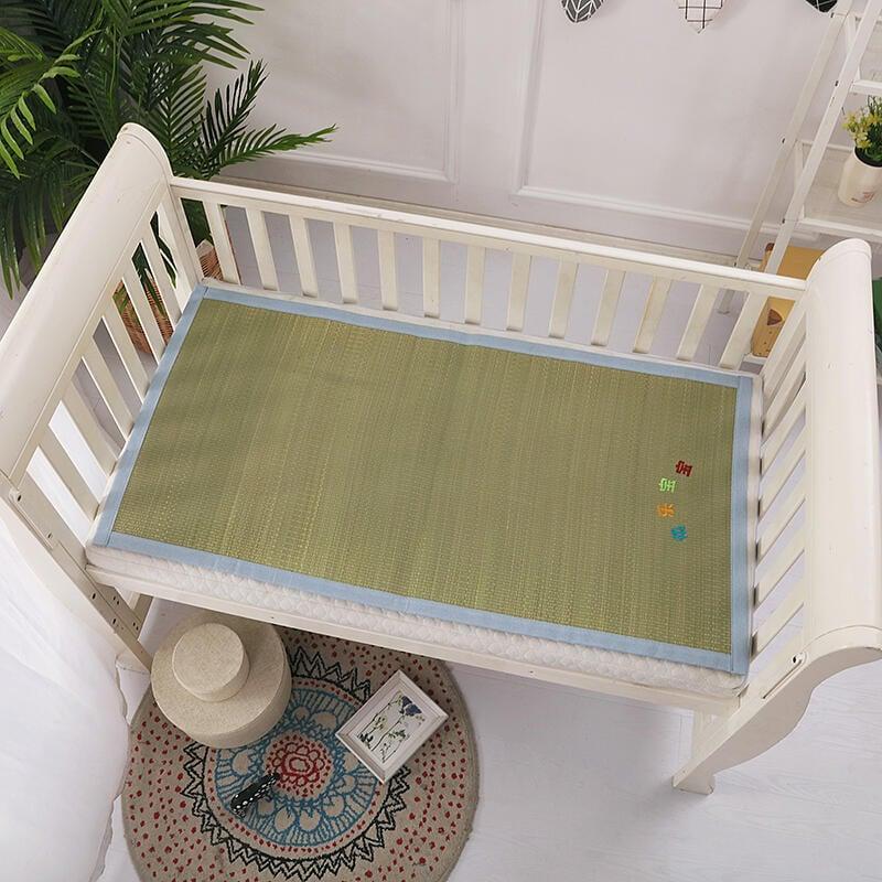 嬰兒床涼席兒童幼兒園通用寶寶亞麻草席子推車坐墊午睡席四季夏季