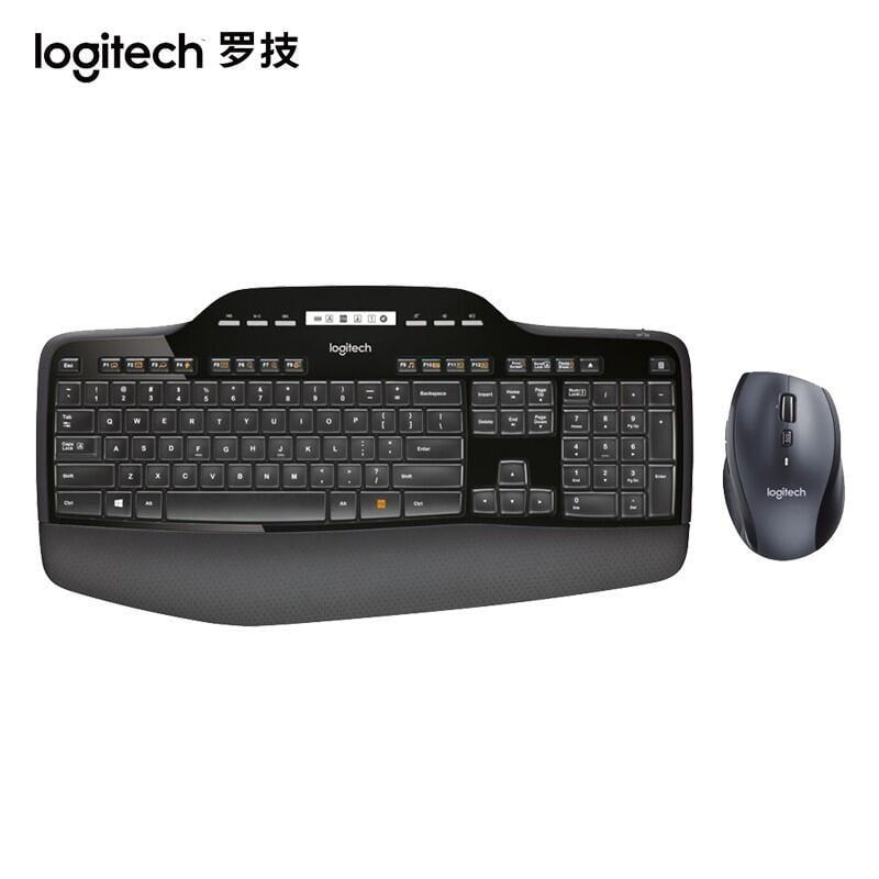 羅技(Logitech)MK710 無線鍵鼠套裝 商務辦公鍵鼠套裝 全尺寸 帶無線2.4G接收器 黑色