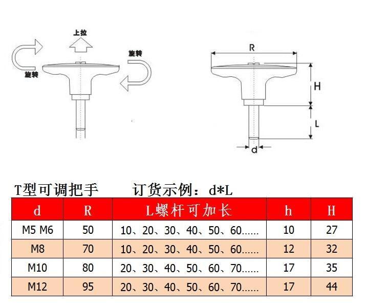 【滿199發貨】手柄螺絲M8M10*15/20/25/30/35/40/50T型可調位手柄 緊定把手