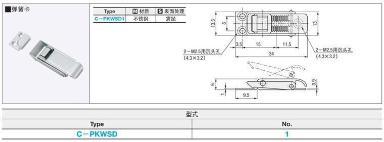 【滿199發貨】代替米思米 搭扣C-PKWSB1彈簧卡