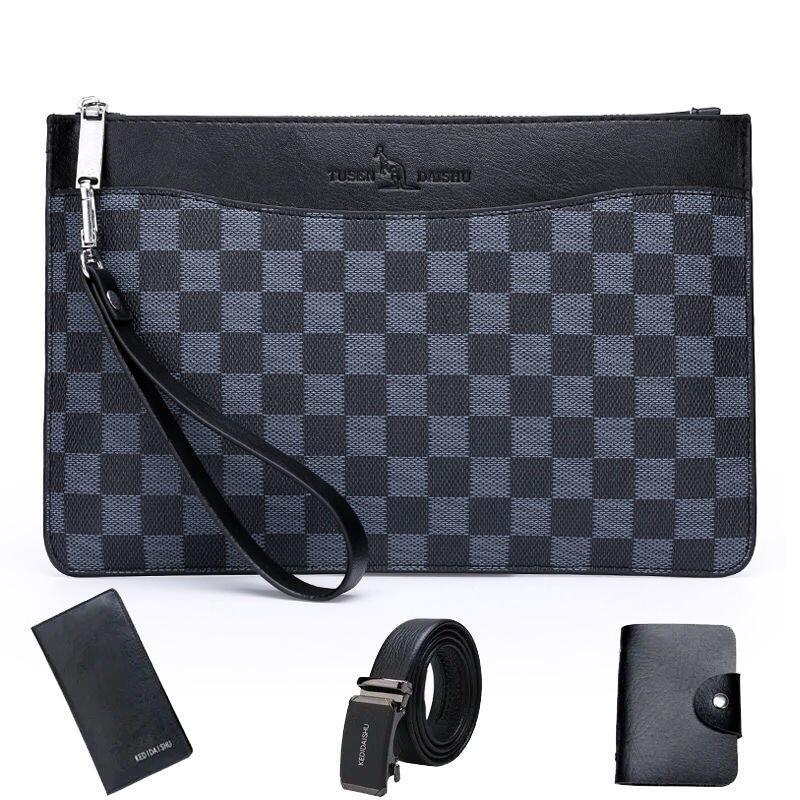男士手拿包時尚手抓包大容量真皮質感信封包商務手包方格子薄錢包