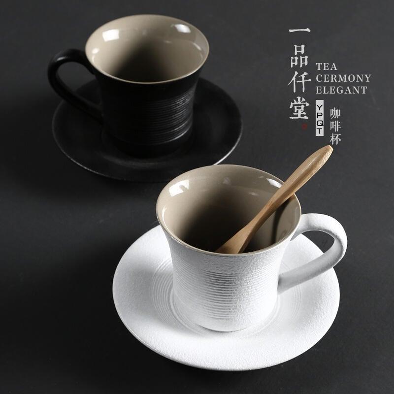 創意粗陶馬克杯女帶勺簡約個性隨手杯日式陶瓷咖啡杯【定制logo】