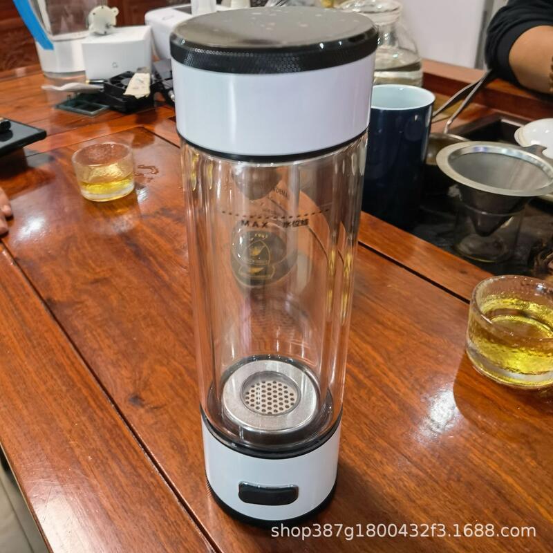倍氫富氫杯水素杯制氫杯雙層玻璃隨手杯圓形禮品杯冷水杯