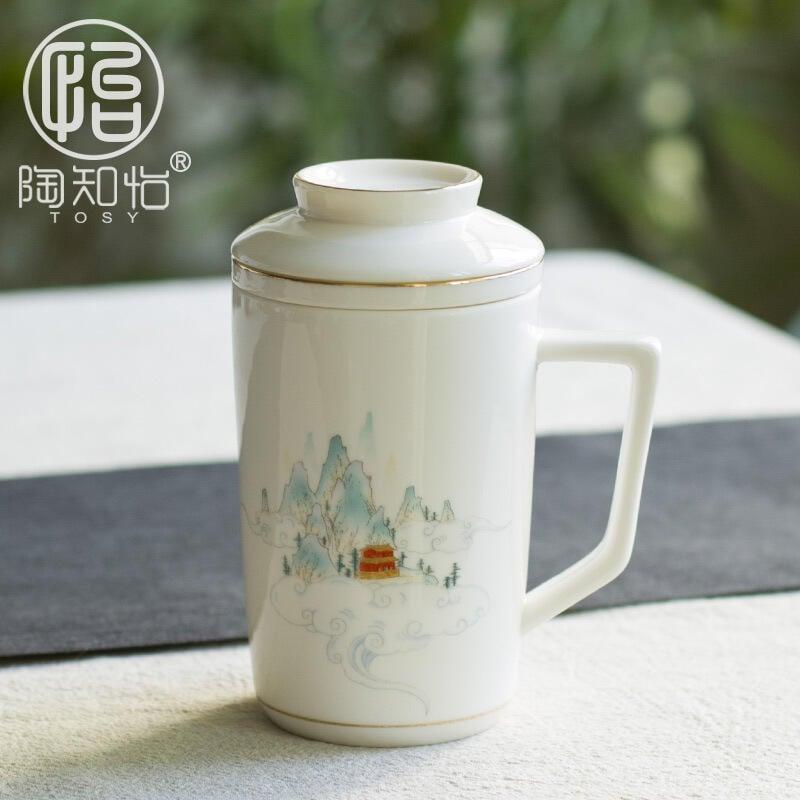 陶知怡陶瓷馬克杯帶蓋過濾主人杯個性描金辦公杯大水杯白瓷隨手杯