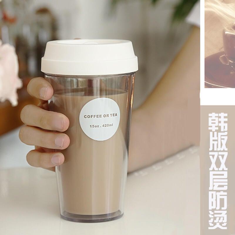 女學生杯子奶茶隨手杯塑料情侶便攜一對創意潮流reefur梨花水杯