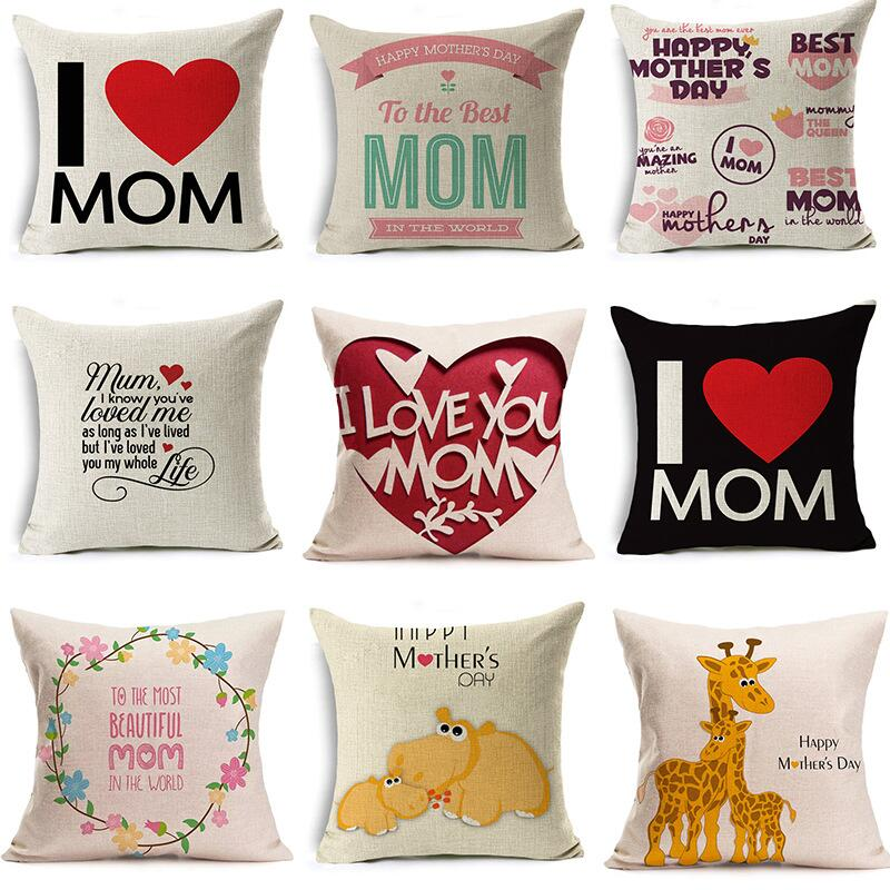 【新款母親節禮物】母親節 文字愛心圖案 亞麻抱枕套 裝飾性抱枕 靠墊套 枕頭套 沙發抱枕 沙發靠枕 抱枕45*45