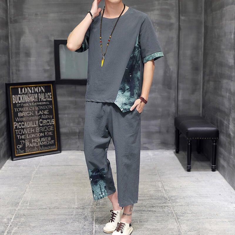 【新款熱賣】套裝男2021新款夏季休閑棉麻短袖t恤夏天衣服男潮流兩件套