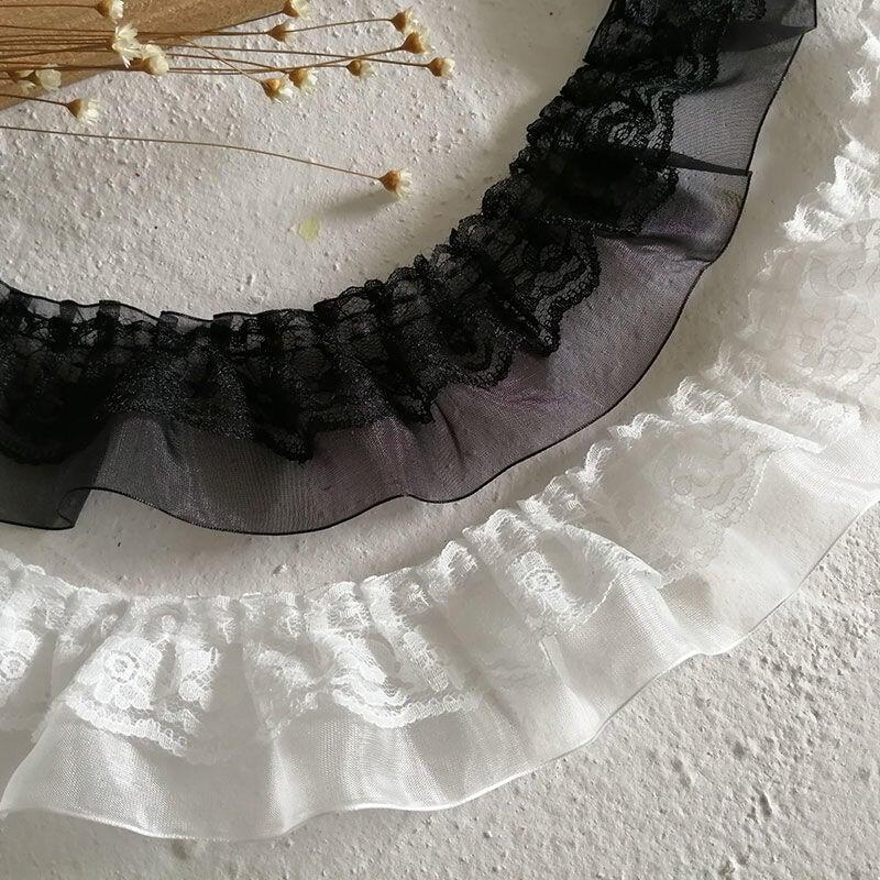 ※手工DIY批發※特價黑色風琴褶皺雙層蕾絲花邊服裝床品窗簾衣服袖口裝飾百褶輔料