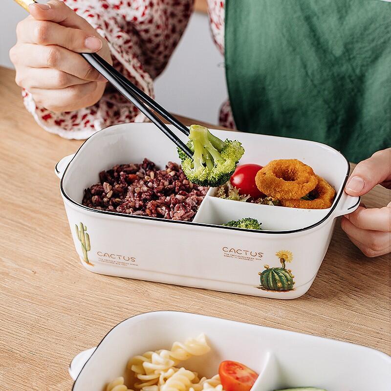 ✁♘☜微波爐專用陶瓷分格飯盒便當盒帶蓋密封上班族帶飯三格多格保鮮碗