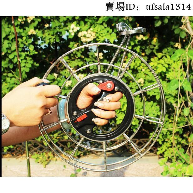 樂購家具_風箏輪手握輪放飛輪風箏線盤輪高檔不銹鋼線輪大型手握搖防倒轉剎車靜音大軸承風箏輪
