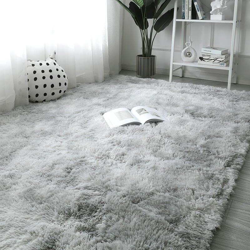 長毛地毯臥室床邊毯滿鋪公主房間網紅少女衣帽間拍照灰色毛毯地墊【星達家居】