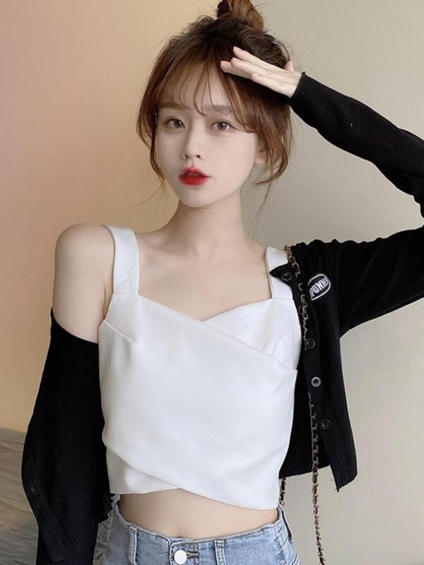 女神必備&白色甜辣吊帶背心女夏季2021新款設計感小眾外穿美背內搭抹胸上衣