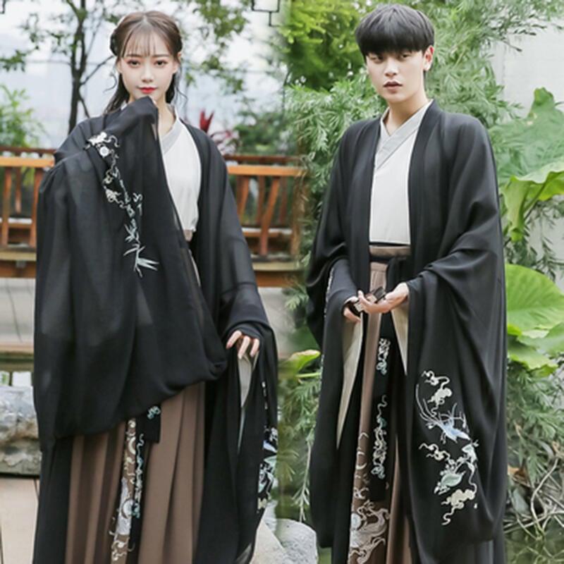 漢服男中國風黑色古裝霸氣魏晉刺繡cp情侶裝古風俠客男士仙氣套裝