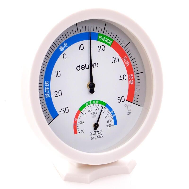 得力溫度計家用室內高精度房精準壁掛式溫濕度計室外大棚壁掛