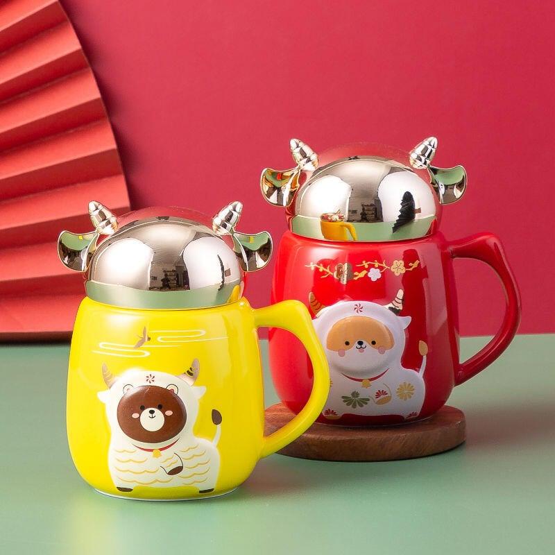 卡通牛奶神器家用陶瓷水杯馬克杯咖啡杯子帶蓋勺子學生宿舍辦飲水