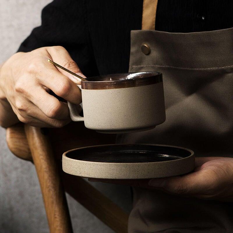 vintage高檔咖啡杯碟套裝粗陶瓷日歐式復古拉花小奢華精致馬克杯