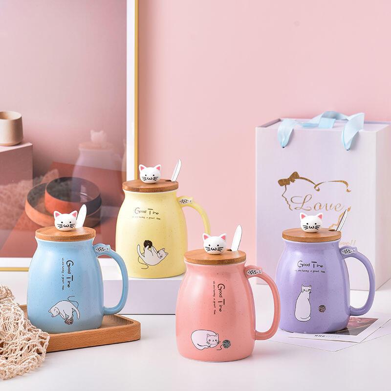 網紅可愛貓咪水杯創意陶瓷杯馬克杯女牛奶杯咖啡杯家用帶蓋帶勺杯