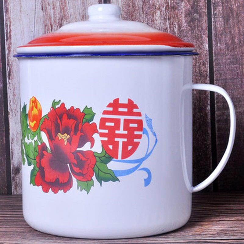 復古搪瓷杯懷舊經典帶蓋大容量泡面碗創意大號馬克杯學生宿舍定制