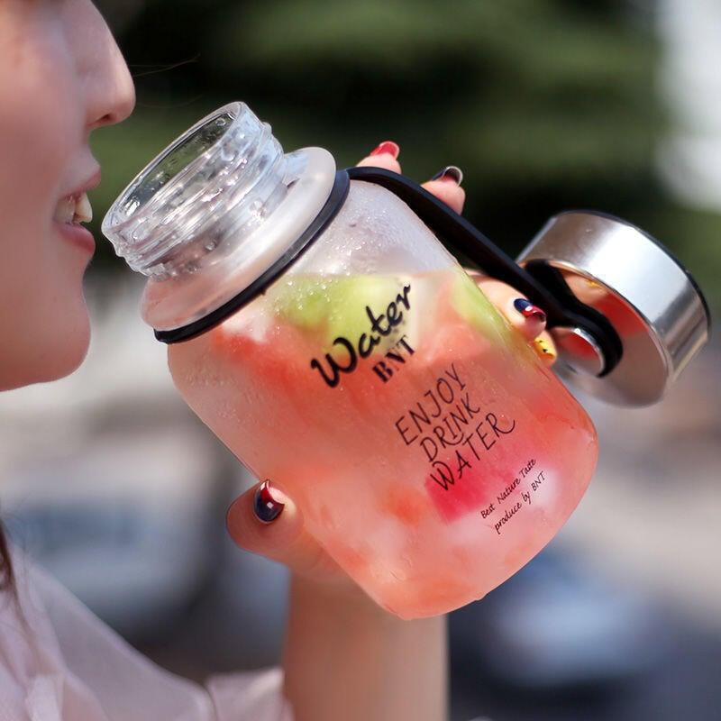 BNT玻璃杯大容量水杯戶外便攜簡約隨手杯網紅時尚帶蓋茶杯