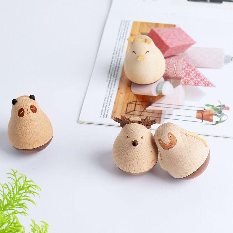 精品木質卡通動物不倒翁創意擺件家居客廳辦公室桌面生日禮物小擺件