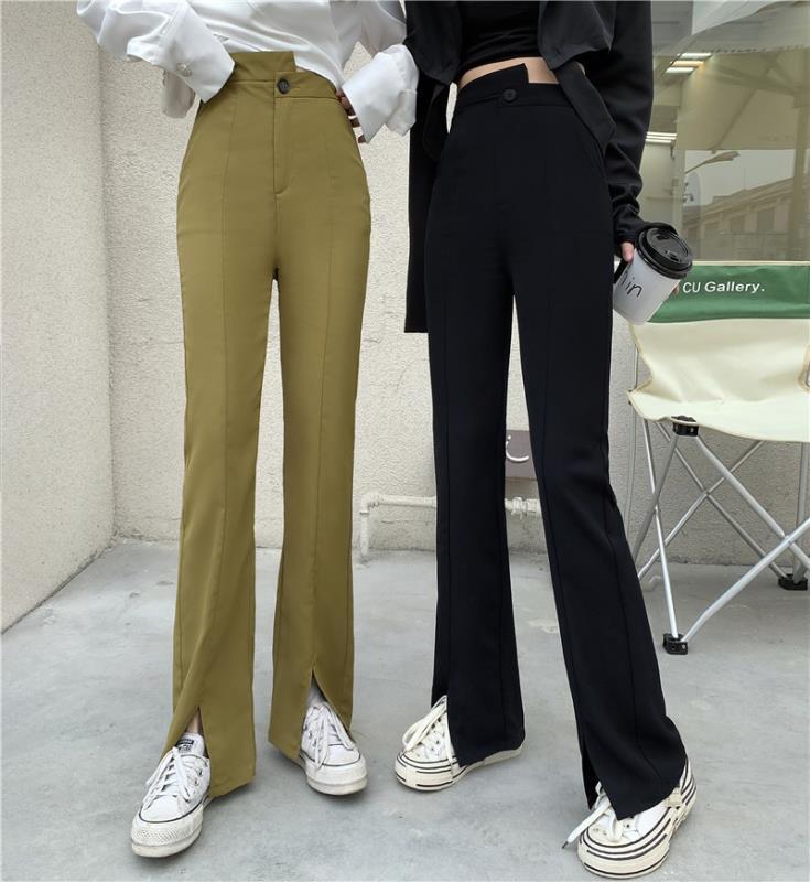 垂感直筒褲子2021年春季新款高腰顯瘦開叉喇叭褲寬鬆闊腿休閒褲女