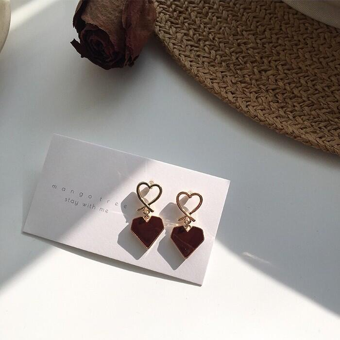 🌈Love2Self🌈 E390 S925銀針 法式酒紅甜美溫柔愛心耳墜耳環 幾何鏤空可愛耳夾 夾式耳環