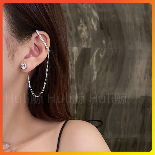 Huli鯨 【2個款】S925銀針韓版冷淡風鏈條流蘇耳環 個性潮人後掛 設計感鑲鑽耳環耳掛鏈條一體式耳環不對稱0130