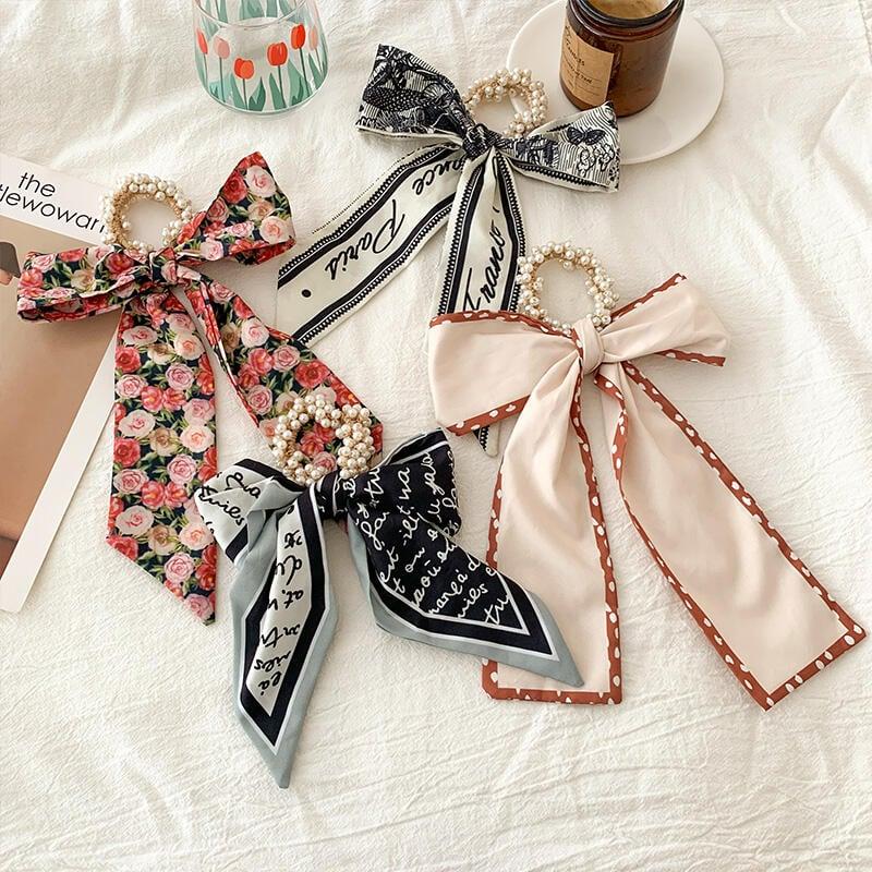 漢服髮飾 腰帶 珍珠絲巾發帶女發圈飄帶網紅年新款夏季薄款綁發絲帶頭飾發繩