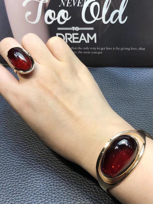 歐洲款波蘭進口天然原礦無優化蜜蠟血紅色琥珀手鍊環鐲戒指套裝