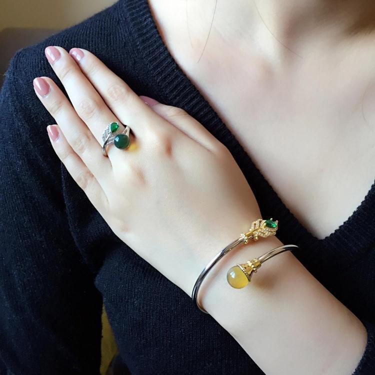 京都琥珀世家墨西哥藍珀戒指女款琥珀蜜蠟戒指手鐲s925純銀活口