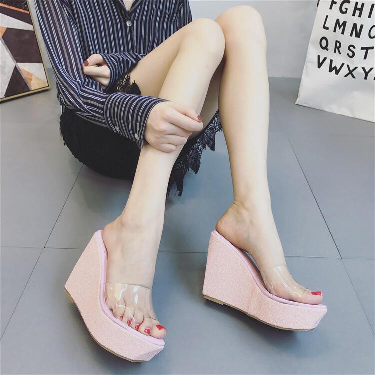 【推薦】ebay Lazada Women Slippers外貿夏季透明亮片坡跟涼拖鞋女